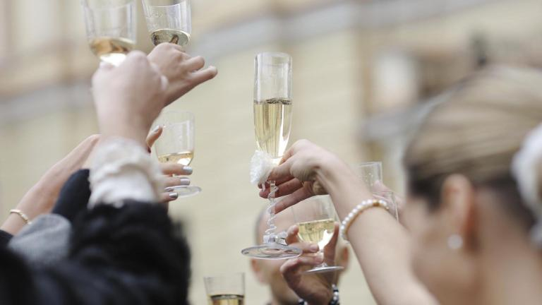 Wedding celebration with champagne glasses